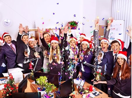stock photo happy group people in santa hat atmas business party